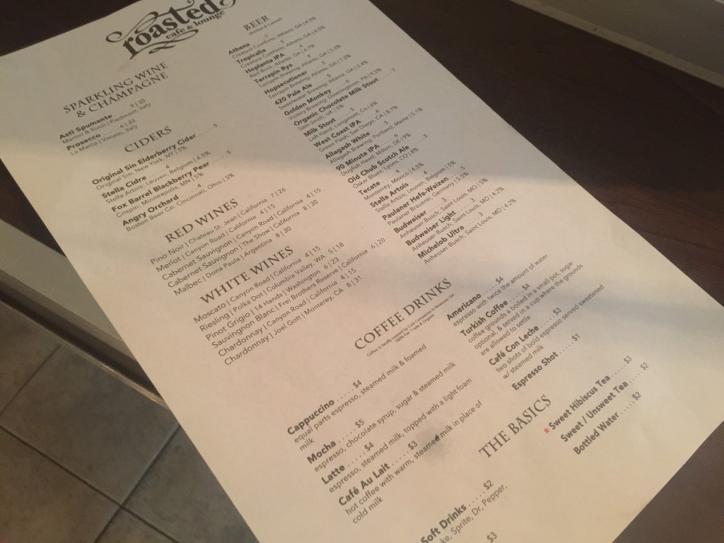 Roasted Cafe And Lounge Menu